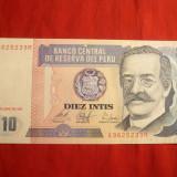 Bancnota 10 Intis Peru 1987, cal.NC
