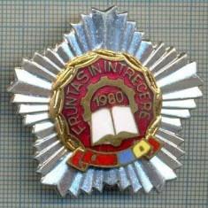 766 INSIGNA  - FRUNTAS IN INTRECERE 1980 (fruntas in intrecerea socialista, drapelul rosu al PCR si cel tricolor) -starea care se vede