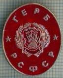723 INSIGNA - GERB (steag rosu?) -RSFSR -URSS -secera si ciocanul -scriere chirilica-starea care se vede
