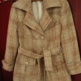 Palton dama, in carouri, maro, mar S
