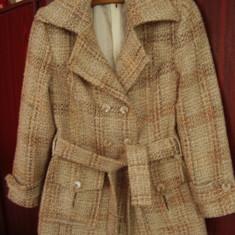Palton dama, in carouri, maro, mar S, Marime: S, S, Lana