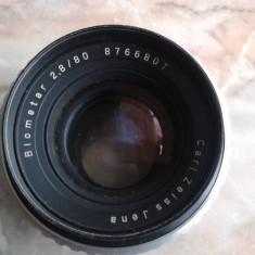 Vand obiective foto, pt colectie, germania, DDR, anii 80, BIOMETAR silver, 2.8/80 CARL ZEISS JENA DDR