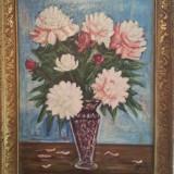 Pictura veche ulei pe panza semnata - vaza cu flori - Pictor roman