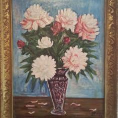 Pictura veche ulei pe panza semnata  - vaza cu flori