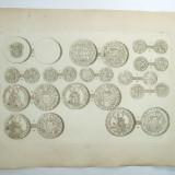 Gravura circa 1820 monede Romania Transilvania Sigismund Bathory