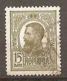 TIMBRE 80, ROMANIA, 1909/14, TIPOGRAFIATE, 15 BANI, CULOARE OLIV, STAMPILAT; REGELE CAROL I, REGE, REGI, PERSONALITATI; TIMBRU TIPOGRAFIAT, OBLITERAT.
