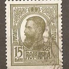 TIMBRE 80, ROMANIA, 1909/14, TIPOGRAFIATE, 15 BANI, CULOARE OLIV, STAMPILAT; REGELE CAROL I, REGE, REGI, PERSONALITATI; TIMBRU TIPOGRAFIAT, OBLITERAT. - Timbre Romania