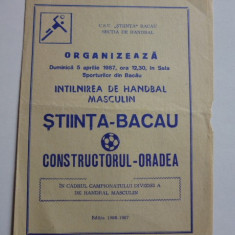 Program meci handbal STIINTA Bacau - CONSTRUCTORUL Oradea 05.04.1987