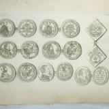 Gravura circa 1820 monede Romania Transilvania Sigismund Batory Generalul Giorgio Basta