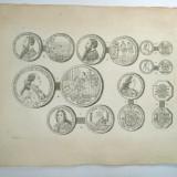 Gravura circa 1820 monede Romania Transilvania Printul Nicolas I Esterhazy, Imparatul Ferdinand al II lea de Habsburg