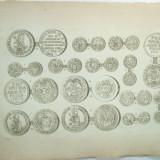 Gravura circa 1820 monede Romania Transilvania Printi ai Transilvaniei Gabriel Bathory Sigismund Rakoczy