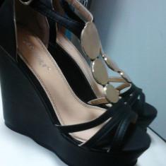 Sandale cu platforma - Sandale dama, Culoare: Negru, Marime: 36