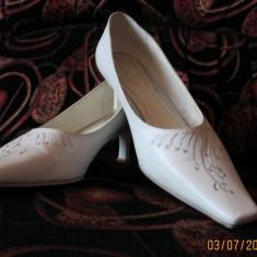 Pantofi de mireasa - mar 40 - Pantof dama, Culoare: Alb, Alb