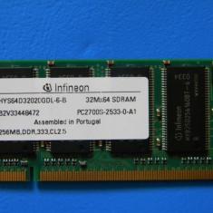 SDRAM, 256Mb, DDR - Memorie RAM laptop Infineon, 333 mhz
