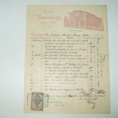 Factura Bucuresti, 1899, Tipografia Gutenberg, Joseph Gobl - Cartela telefonica romaneasca