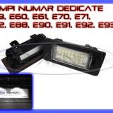 SET LAMPI DEDICATE BMW E39, E60, E61, E70, E71, E82, E90, E91, E92 - LAMPA PLACUTA NUMAR INMATRICULARE - 24 LED LEDURI SMD - CULOARE ALB XENON 6000K - Led auto ZDM
