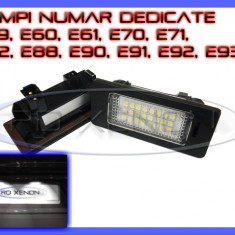 SET LAMPI DEDICATE BMW E39, E60, E61, E70, E71, E82, E90, E91, E92 - LAMPA PLACUTA NUMAR INMATRICULARE - 24 LED LEDURI SMD - CULOARE ALB XENON 6000K ZDM