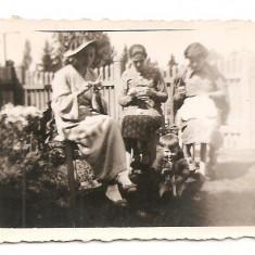 FOTO 53 FOTOGRAFIE MAMA CU FIICELE CU CROSETE, IMAGINI, TINUTE DE EPOCA, PRODUS DE COLECTIE DIM. : 5, 5X8, 5 cm. 1938, PALARIE, COPIL, CATEL, CAINE, Sarbatori