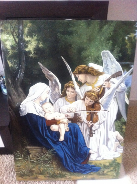 tablou pictura pe pinza in ulei cu sasiu si rama deosebit foto mare