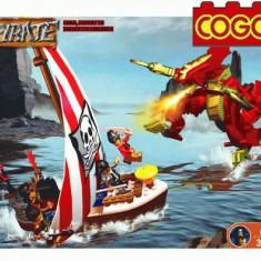 Jucarie corabia piratilor si un dragon, cu figurine si arme de asalt, Cogo 3100 - Set de constructie