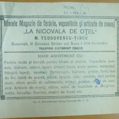 Reclama tiparita La nicovala de otel Magazin ferarie, vopselarie si menaj Bucuresti 1933