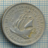 1245 MONEDA  - TERITORIILE BRITANICE DE EST(BRITISH CARIBBEAN TERRITORIES- EASTERN GROUP) - 25 CENTS -anul 1955 -starea care se vede