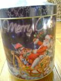 Cutie muzicala cilindrica metal Santa Claus cutiuta Merry Christmas Craciun motiv decorativ sarbatori partitura Jingle Bells perfect functionabila