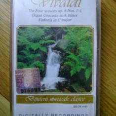 Caseta audio Vivaldi - The Four Seasons Op. 8 Nos. 1-4 Anotimpurile muzica clasica opera Concert de orga in A minor Simfonia in C major 60 min., Casete audio