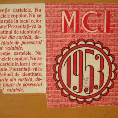 Cartela de produse industriale M. C. I. 5 metri tesaturi bumbac Bucuresti 1953 - Cartonas de colectie