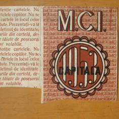 Cartela de produse industriale M. C. I. 3 metri tesaturi bumbac Bucuresti 1953 - Cartonas de colectie