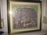 Culegerea merelor,  Peisaj mare in relief pe carton plastefiat cu rama aurie