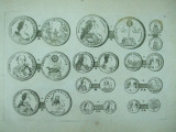 Gravura circa 1820 monede Ungaria  Imparateasa Maria Tereza Imparatul Francisc I Arhiducii Austriei Ferdinand si Maximilian