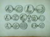 Gravura circa 1820 monede Ungaria Imparateasa Maria Tereza Imparatul Francisc I Arhiducesa Ioana Gabriela