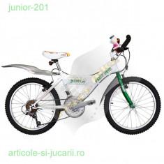 Bicicleta Mountainbike Junior-201 (de la FirstBike), Numar viteze: 18, Otel, Alb, V-brake, Fara amortizor