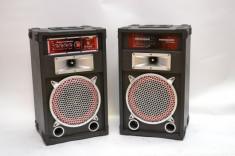 SISTEM 2 BOXE ACTIVE/AMPLIFICATE,250 WATT,MP3 PLAYER STICK /CARD,RADIO FM,MIXER INCLUS+2 MICROFOANE BONUS. foto