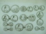 Gravura circa 1820 monede Ungaria  Imparateasa Maria Tereza Arhiducesa Maria Christina Printul Albert De Saxonia