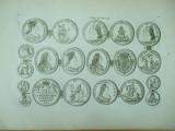 Gravura circa 1820 monede Ungaria Imparateasa Maria Tereza Imparatul Francisc I