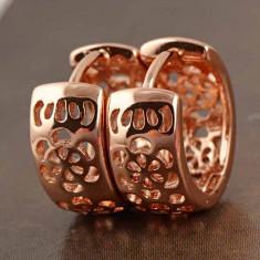 Cercei dublu placati aur 18K cristale zirconiu cod 20139 - Cercei placati cu aur