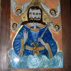 Icoana pe sticla, Sfanta Treime, model Nicula - Icoana cu foita de aur