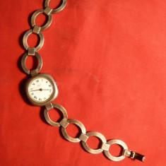 Ceas din argint, cu bratara, marca Emka Geneve
