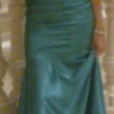 Rochie de seara, Marime: 38, Culoare: Turcoaz, Maxi, Fara bretele, Satin