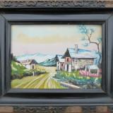 Peisaj cu case, acuarela semnata - Pictor roman