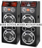 SUPER SET 2 BOXE ACTIVE/AMPLIFICATE CU MIXER,STICK,CARD+1 MICROFON +STROBOSCOP+SCANNER.