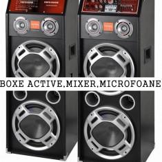 SUPER SET 2 BOXE ACTIVE/AMPLIFICATE CU MIXER,STICK,CARD+1 MICROFON +STROBOSCOP+SCANNER.