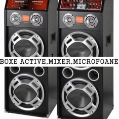 SUPER SET 2 BOXE ACTIVE/AMPLIFICATE CU MIXER, STICK, CARD+1 MICROFON +STROBOSCOP+SCANNER. - Boxa activa