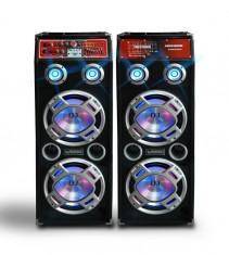 MEGA SET 2 BOXE ACTIVE.AMPLIFICATE BASS 10 INCH,MIXER INCLUS,MP3 PLAYER,500 WATT PMPO+BONUS 2 MICROFOANE! orga lumini. foto