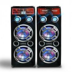 MEGA SET 2 BOXE ACTIVE.AMPLIFICATE BASS 10 INCH,MIXER INCLUS,MP3 PLAYER,500 WATT PMPO+BONUS 2 MICROFOANE! orga lumini.
