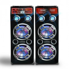 MEGA SET 2 BOXE ACTIVE.AMPLIFICATE BASS 10 INCH, MIXER INCLUS, MP3 PLAYER, 500 WATT PMPO+BONUS 2 MICROFOANE! orga lumini.