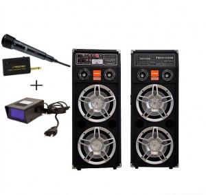 BOXE ACTIVE/AMPLIFICATE PROFESIONALE CU MIXER INCLUS,CITITOR STICK USB/CARD,EFECTE VOCE,500 WATT+MICROFON WIRELESS+stroboscop disco.