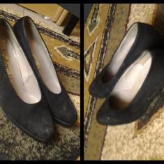 Pantofi dama piele intoarsa - Pantof dama Gabor, Culoare: Negru, Marime: 39.5
